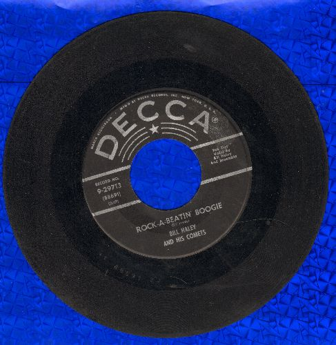 Haley, Bill & His Comets - Rock-A-Beatin' Boogie/Burn That Candle (black lable, star/lines) - G5/ - 45 rpm Records