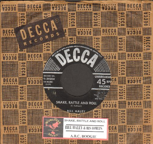 Haley, Bill & His Comets - Shake, Rattle And Roll/A.B.C. Boogie (black label/star & silver lines first issue with vintage Decca company sleeve and juke box label) - EX8/ - 45 rpm Records