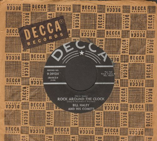 Haley, Bill & His Comets - Rock Around The Clock/Thirteen Women (black label first pressing with vintage Decca company sleeve) - VG7/ - 45 rpm Records