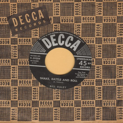 Haley, Bill & His Comets - Shake, Rattle And Roll/A.B.C. Boogie (black label/star & silver lines first issue with vintage Decca company sleeve) - VG7/ - 45 rpm Records