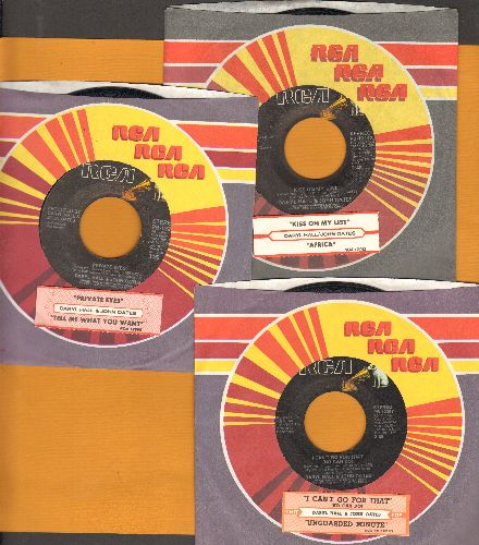 Hall, Daryl & John Oates - 3-Pack of first issu 45s with juke box labels and company sleeves. Hits include Kiss On My List, Private Eyes and I Can't Go For That. GREAT for a juke box! - EX8/ - 45 rpm Records
