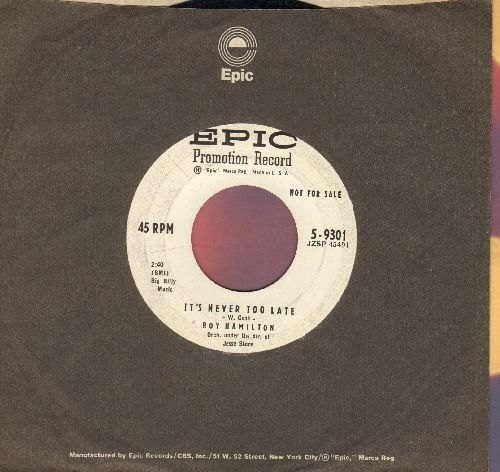 Hamilton, Roy - It's Never Too Late/Somewhere Along The Way (DJ advance pressing with Epic company sleeve) - EX8/ - 45 rpm Records