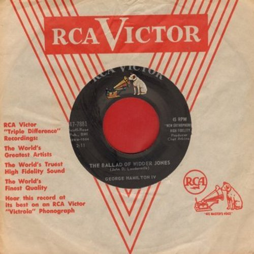 Hamilton, George IV - The Ballad Of Widder Jones/Three Steps To The Phone (with RCA company sleeve) - VG7/ - 45 rpm Records