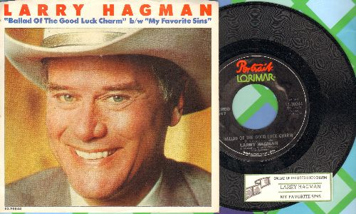 Hagman, Larry - My Favorite Sins/Ballad Of The Good Luck Charm (RARE novelty record by TV's favorite villain -JR Ewing-, with juke box label and picture sleeve featuring the famous JR grin! COLLECTOR'S ITEM!) - NM9/EX8 - 45 rpm Records