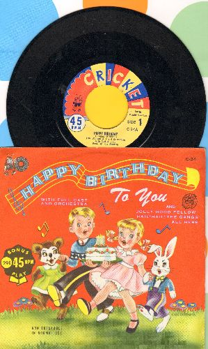 Waiman, Toni & The 4 Cricketones - Happy Birthday To You/Jolly Good Fellow (with picture sleeve) - NM9/NM9 - 45 rpm Records