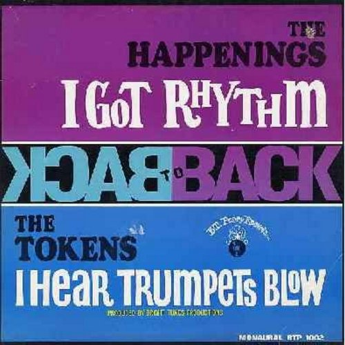 Happenings, Tokens - Back To Back - I Got Rhythm/I Hear Trumpets Blow: Lillies By Monet, Swing, Impatient Girl, Sylvie's Sleeping, Good Night My Love (Vinyl MONO LP record) - EX8/VG7 - LP Records