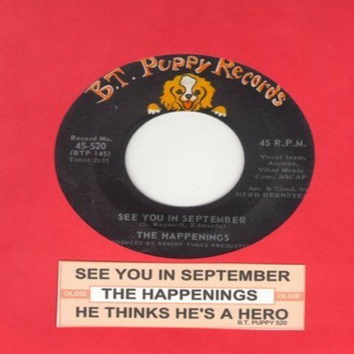 Happenings - See You In September/He Thinks He's A Hero  - EX8/ - 45 rpm Records