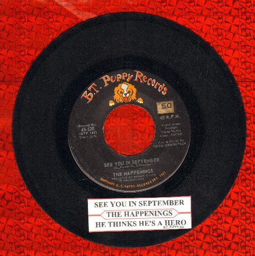 Happenings - See You In September/He Thinks He's A Hero (with juke box label) - NM9/ - 45 rpm Records