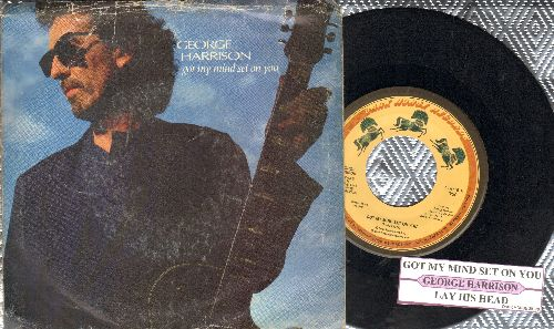 Harrison, George - Got My Mind Set On You/Lay His Head (with juke box label and picture sleeve) - EX8/VG7 - 45 rpm Records
