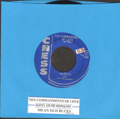 Harvey & The Moonglows - The Ten Commandments Of Love/Mean Old Blues (with juke box label) - VG7/ - 45 rpm Records