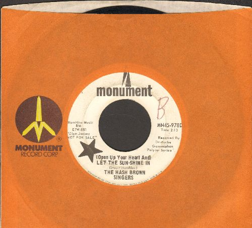 Hash Brown Singers - (Open Up Your Heart And) Let The Sun-Shine In/I get A Thrill (DJ advance pressing with Monument company sleeve) - VG7/ - 45 rpm Records
