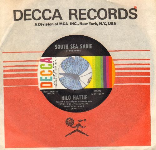 Hilo Hattie - South Sea Sadie/The Hasegawa General Sore (RARE Hawaiian Folk Standard/Novelty 2-sider, with vintage Decca company sleeve) - NM9/ - 45 rpm Records