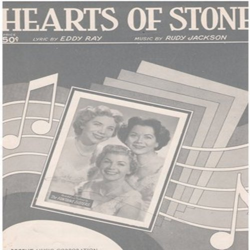Fontane Sisters - Hearts Of Stone - SHEET MUSIC of the love ballad made popular by The Fontaine Sisters (This is SHEET MUSIC, not any other kind of media) - NM9/ - Sheet Music
