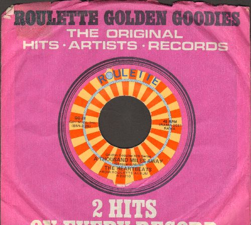 Heartbeats - A Thousand Miles Away/Down On My Knees (double-hit re-issue with Roulette company sleeve) - NM9/ - 45 rpm Records