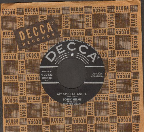 Helms, Bobby - My Special Angel/Standing At The End Of My World (black label early pressing with Decca company sleeve) - EX8/ - 45 rpm Records