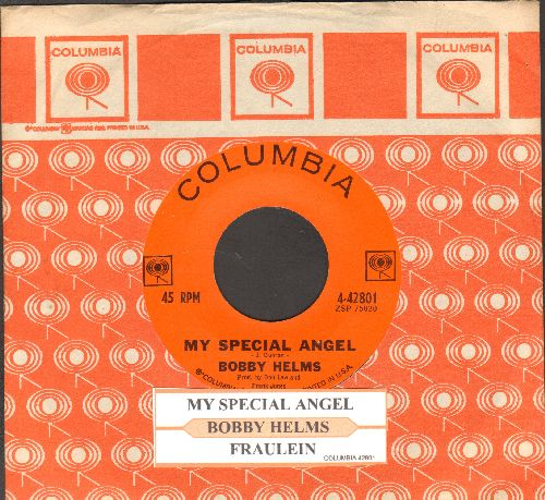 Helms, Bobby - My Special Angel/Fraulein (with juke box label and Columbia company sleeve) - NM9/ - 45 rpm Records