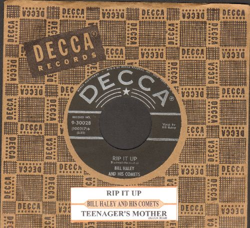 Haley, Bill & His Comets - Rip It Up/Teenager's Mother (with juke box label and vintage Decca company sleeve) - EX8/ - 45 rpm Records