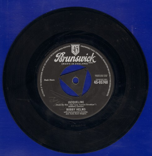 Helms, Bobby - Jaqueline/Living In The Shawdow Of The Past (British Pressing, removabl spindle adapter) - EX8/ - 45 rpm Records