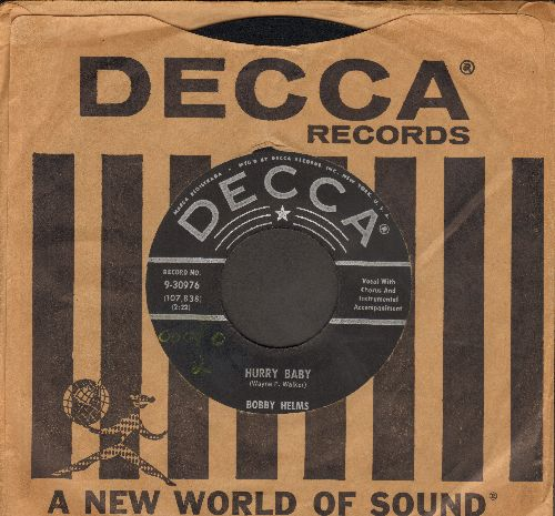 Helms, Bobby - Hurry Baby/My Lucky Day (FANTASTIC Rock-A-Billy 2-Sider with vintage Decca company sleeve) - NM9/ - 45 rpm Records