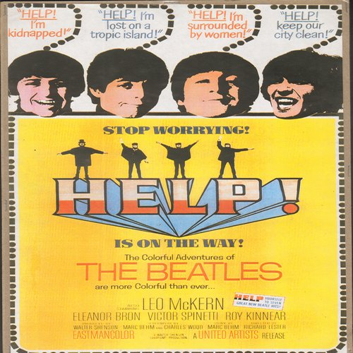 Beatles - Help! Movie Poster - Help! - Full Color 16 x 10.5 inch reproduced Movie Poster of Beatles Cult Film - GREAT for framing!  - NM9/ - Poster