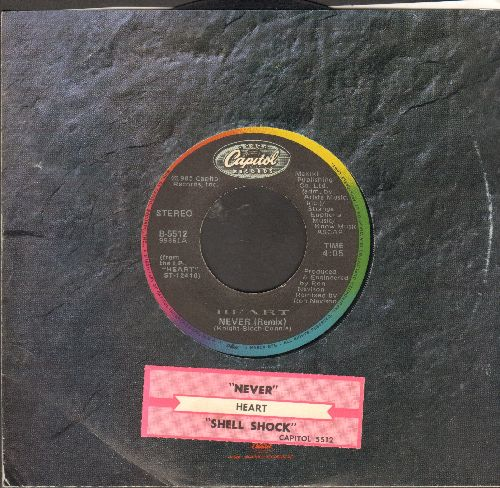 Heart - Never/Shell Shock (wth juke box label and Capitol company sleeve) - VG7/ - 45 rpm Records