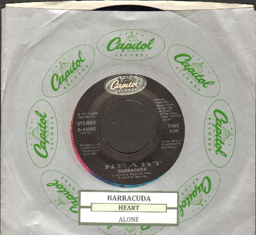 Heart - Barracuda/Alone (wth juke box label and Capitol company sleeve) - EX8/ - 45 rpm Records
