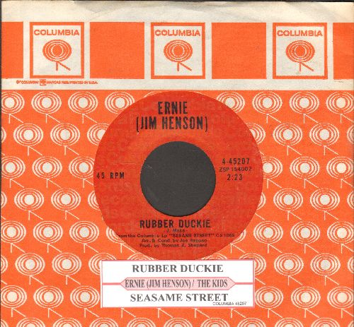 Ernie (Jim Henson) - Rubber Duckie/Sesame Street (MINT condition with juke box label and Columbia company sleeve) - M10/ - 45 rpm Records