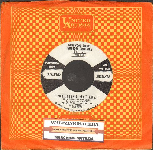Hollywood Studio Symphony Orchestra - Waltzing Matilda/Marching Mathilda (DJ advance copy with vintage United Artists company sleeve and juke box label) - NM9/ - 45 rpm Records