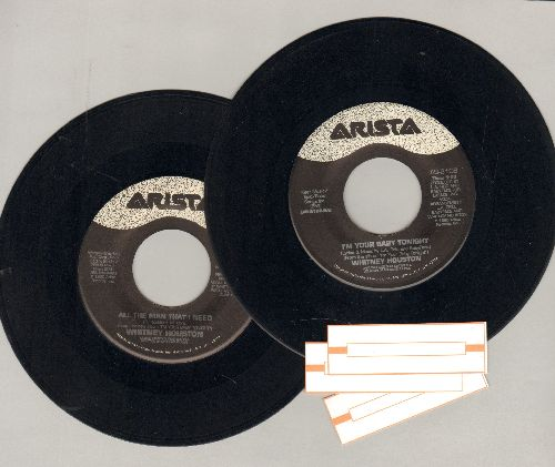 Houston, Whitney - 2 first pressing 45rpm records for the price of 1. Hits include I'm Your Baby Tonight and All The Man I Need (shipped in plain white paper sleeves with 3 blank juke box labels) - EX8/ - 45 rpm Records
