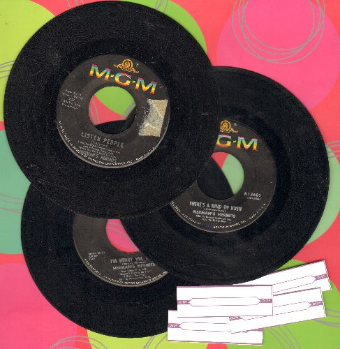 Herman's Hermits - 3-Pack of first issue 45, includes hits I'm Henry VIII, I Am/No Milk Today/Listen People. Shipped in plain white paper sleeves with 4 blank juke box labels. - VG7/ - 45 rpm Records
