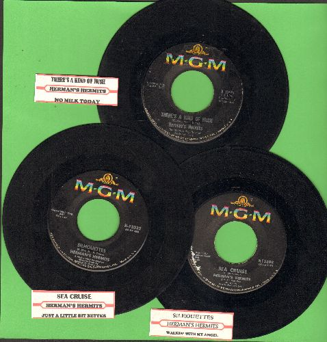 Herman's Hermits - 3-Pack of first issue 45s includes hits Sea Cruise, Silhouettes and There's A Kind Of Hush. Shipped in plain paper sleeves with juke box labels. GREAT for a Juke Box! - VG7/ - 45 rpm Records