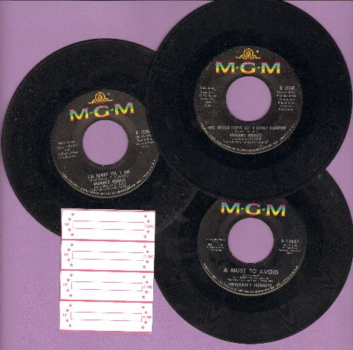 Herman's Hermits - 3-Pack of first issue 45, includes hits Mrs. Brown You've Got A Lovely Daughter/I'm Henry VIII, I Am/A Must To Avoid. Shipped in plain white paper sleeves with 4 blank juke box labels. - VG7/ - 45 rpm Records