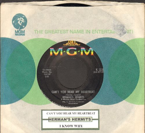 Herman's Hermits - Can't You Hear My Heartbeat/I Know Why (with MGM company sleeve with juke box label) - NM9/ - 45 rpm Records
