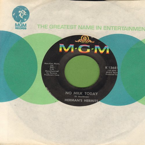 Herman's Hermits - There's A Kind Of Hush/No Milk Today (FANTASTIC flip-side - the ULTIMATE British Invasion Sound!) (with MGM company sleeve) - EX8/ - 45 rpm Records