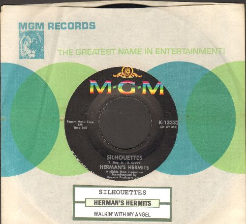 Herman's Hermits - Silhouettes/Walkin' With My Angel (with MGM company sleeve and juke box label) - NM9/ - 45 rpm Records
