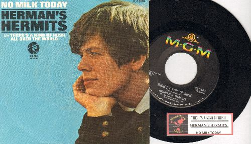Herman's Hermits - There's A Kind Of Hush/No Milk Today (FANTASTIC flip-side - the ULTIMATE British Invasion Sound!) (with picture sleeve) - EX8/ - 45 rpm Records