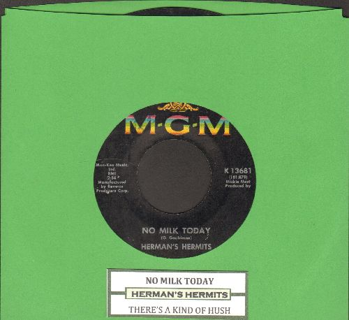 Herman's Hermits - There's A Kind Of Hush/No Milk Today (FANTASTIC flip-side - the ULTIMATE British Invasion Sound!) (with juke box label) - VG7/ - 45 rpm Records