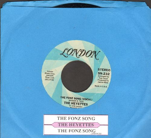 Heyettes - The Fonz Song (Vocal)/The Fonz Song (Instrumental) (FANTASTIC NOVELTY in Vintage Rock & Roll Style, inspired by the popular Character from the TV Sit-Com -Happy Days-) - NM9/ - 45 rpm Records
