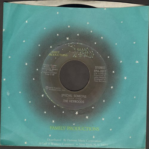 Heywoods - Special Someone/I Wish I Could (with RARE Family Productions company sleeve) - M10/ - 45 rpm Records