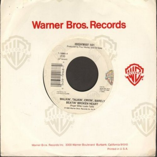 Highway 101 - Walkin', Talkin', Cryin', Barely Beatin' Broken Heart/Sweet Baby James (with Warner Brothers company sleeve) - M10/ - 45 rpm Records
