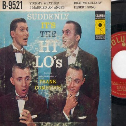 Hi-Lo's - Suddenly It's The Hi-Lo's: Stormy Weather/Brahms Lullaby/I Married An Angel/Desert Song (Vinyl EP rec ord with picture cover) - NM9/VG6 - 45 rpm Records