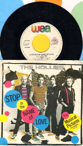 Hollies - Stop In The Name Of Love/Musical Pictures (ITALIAN Pressing with juke box label and picture sleeve) - NM9/EX8 - 45 rpm Records