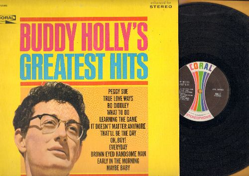 Holly, Buddy - Buddy Holly's Greatest Hits: Peggy Sue, True Love Ways, Bo Diddley, That'll Be The Day, Everyday, Maybe Baby (Vinyl STEREO LP record, 1967 issue of vintage recordings) - VG7/EX8 - LP Records