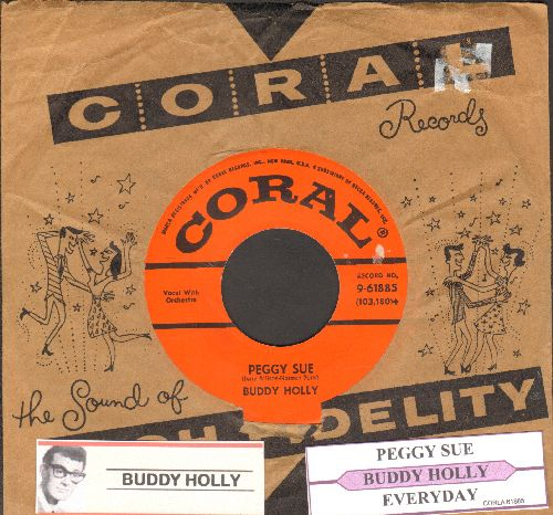 Holly, Buddy - Peggy Sue/Everyday (first pressing with juke box label and vintage Coral company sleeve) - NM9/ - 45 rpm Records