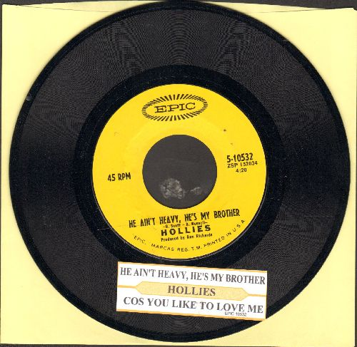 Hollies - He Ain't Heavy, He's My Brother/Cos You Like To Love Me (with juke box label) - NM9/ - 45 rpm Records