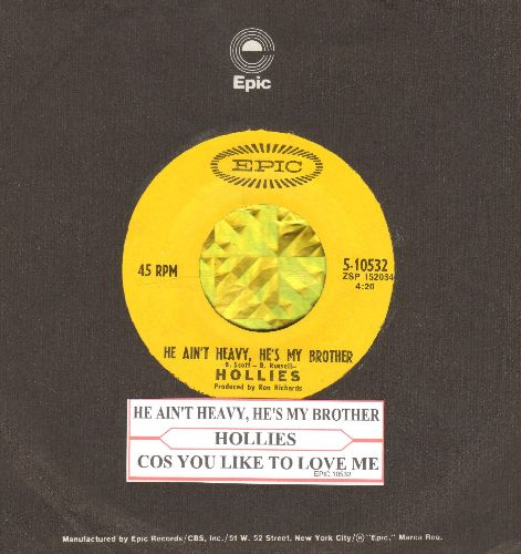 Hollies - He Ain't Heavy, He's My Brother/Cos You Like To Love Me (with juke box label and Epic company sleeve) - NM9/ - 45 rpm Records