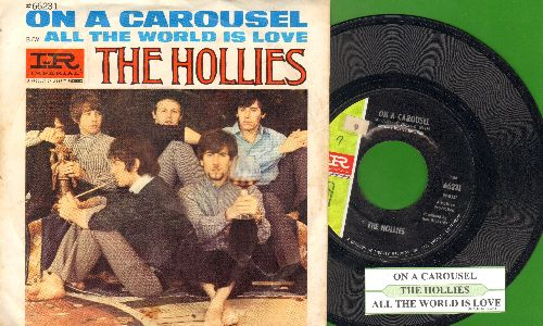 Hollies - On A Carousel/All The World Is Love (with picture sleeve and juke box label) - EX8/VG7 - 45 rpm Records
