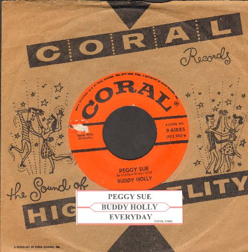 Holly, Buddy - Peggy Sue/Everyday (first pressing with vintage Coral company sleeve and juke box label) - VG7/ - 45 rpm Records