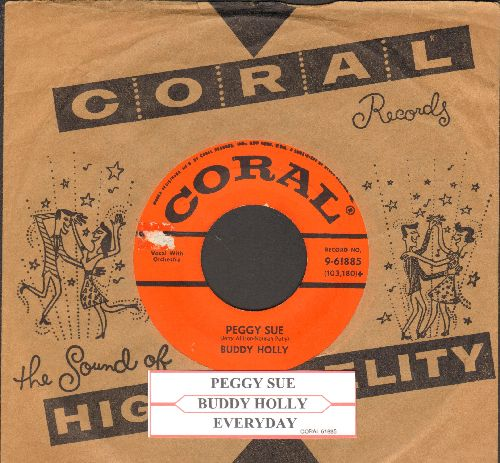 Holly, Buddy - Peggy Sue/Everyday (first pressing with juke box label and vintage Coral company sleeve) - EX8/ - 45 rpm Records