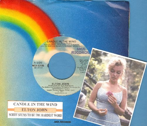 John, Elton - Candle In The Wind (Original 1987 version as an ode to Marilyn Monroe)/Sorry Seems To Be The Hardest Word (with juke box label and company sleeve) - VG7/ - 45 rpm Records